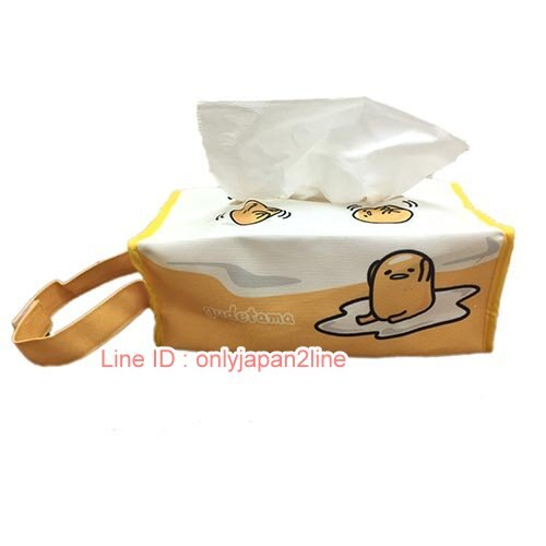【真愛日本】17022300012GU帆布面紙套-蛋白版   三麗鷗家族 蛋黃哥 Gudetama 面紙套 面紙盒 居家用品 收納
