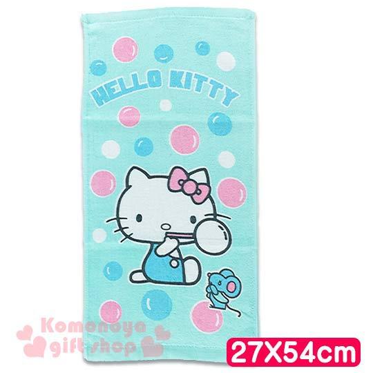 〔小禮堂〕Hello Kitty 學童長毛巾《S.綠.側坐.老鼠.泡泡.27x54cm》