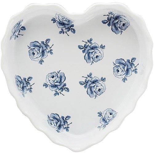 《CreativeTops》Katie復古藍心型陶製烤盤(白23cm)