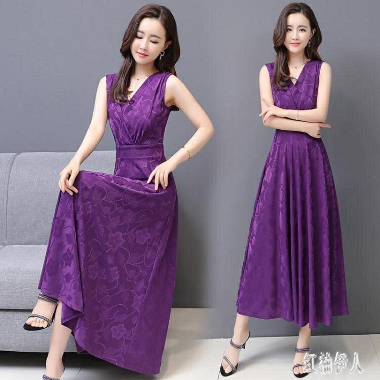 夏天法式顯瘦長裙女2020新款氣質無袖洋裝針織提花大擺連身裙v領 yu13886夏洛特居家名品