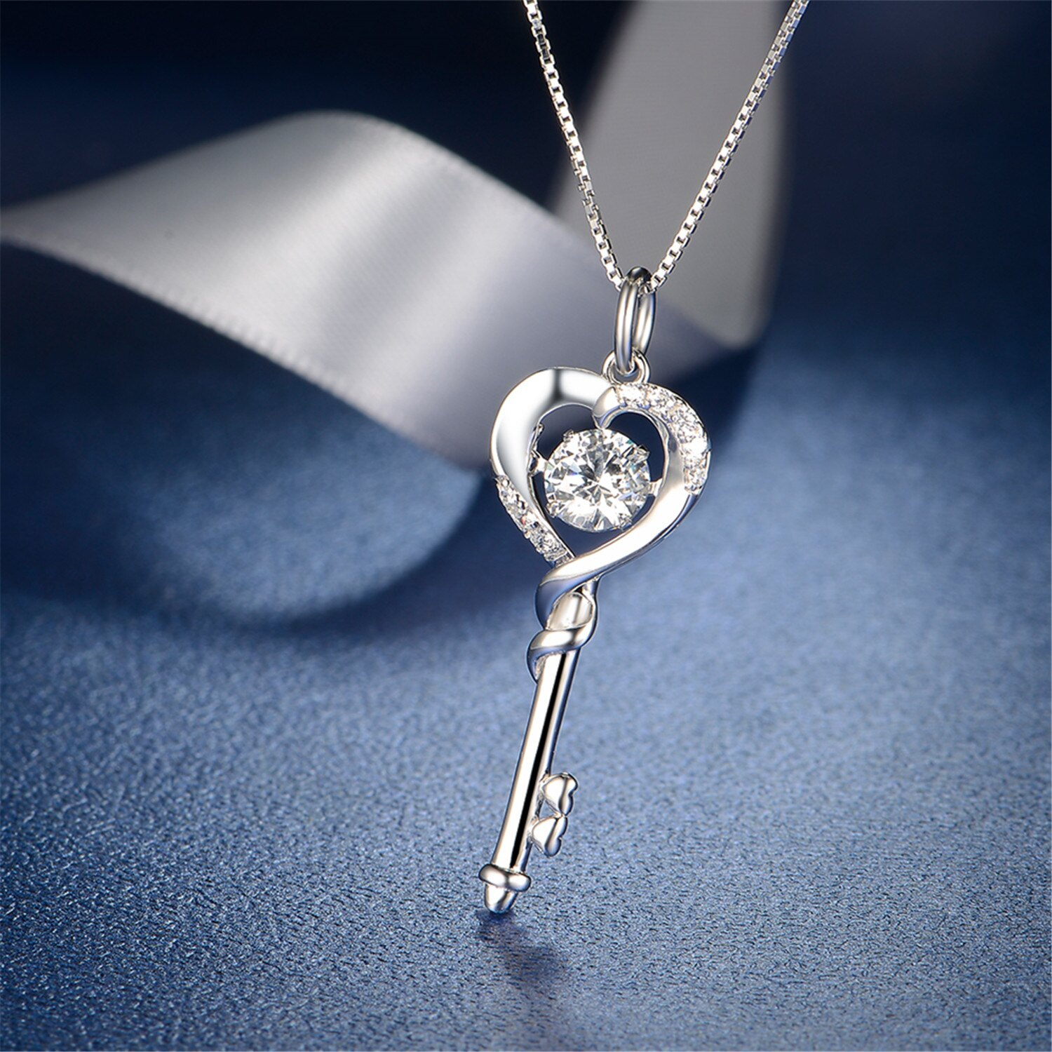 16e8fcbbc Mabella Simulated Dacing Diamond Key to Heart White Gold Plated Sterling  Silver Key Pendant Necklace,