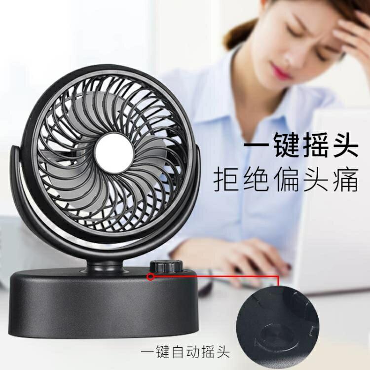 USB風扇 自動可搖頭電動電池小電風扇迷你可充電靜音辦公室桌上插頭便攜式SUPER SALE樂天雙12購物節