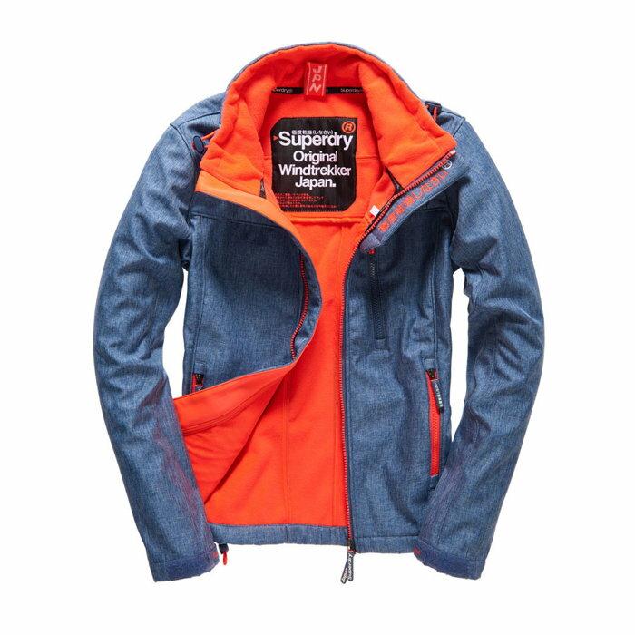 美國百分百【全新真品】Superdry 極度乾燥 軟殼 風衣 立領 外套 防風 夾克 刷毛 單寧藍 螢光橘 女 S M號  H210