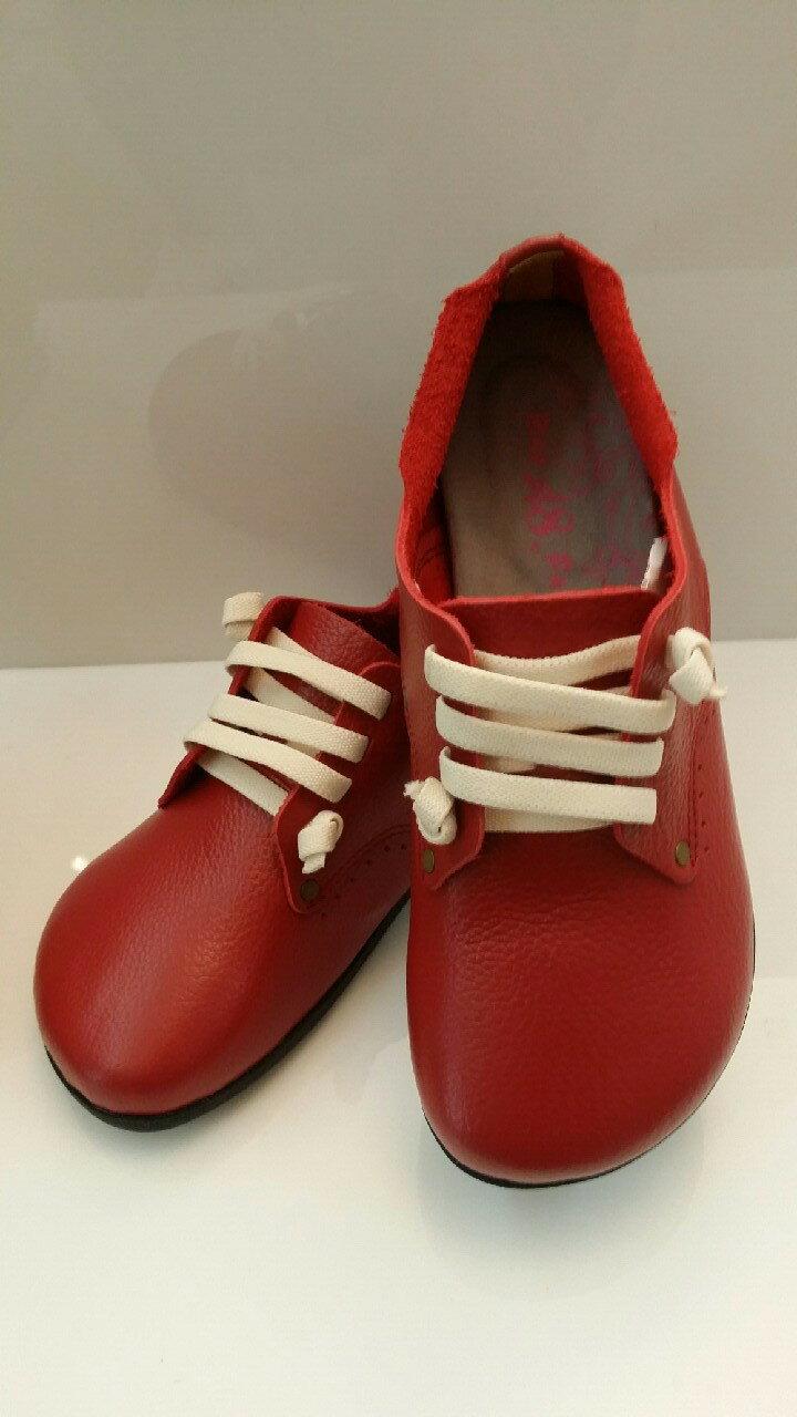 Sigmamark *依瑪客* 台灣製純手工真皮氣墊鞋-大頭鞋/娃娃鞋/休閒鞋/女生款 (紅色.咖啡色)