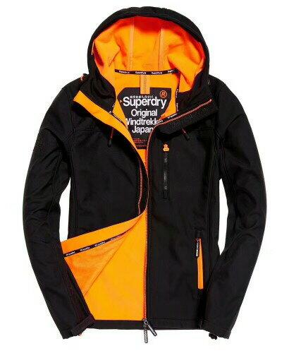 極度乾燥 Superdry SD-Windtrekker 連帽防風夾克薄款防風外套 防潑水機能衣 黑色/非常橘