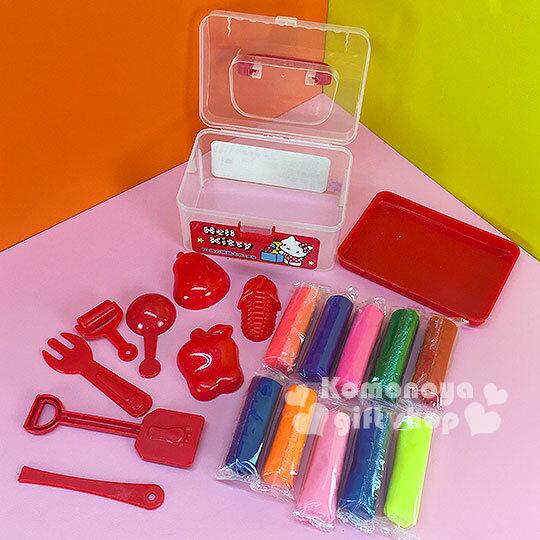 〔小禮堂〕Hello Kitty 10色黏土玩具~小.紅.透明提盒裝.側站.玩具箱~內附