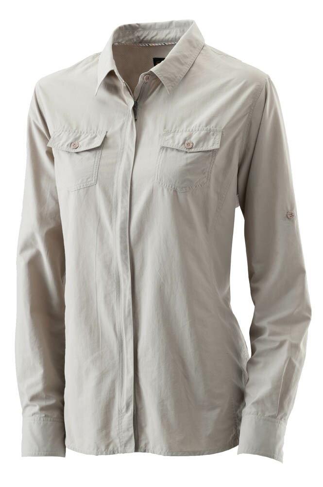 【【蘋果戶外】】荒野 W1201-83 白卡其 WildLand 女 可調節抗UV長袖襯衫 素面襯衫 罩衫 薄外套 快乾 襯衫外套 防曬 抗紫外線 大尺碼