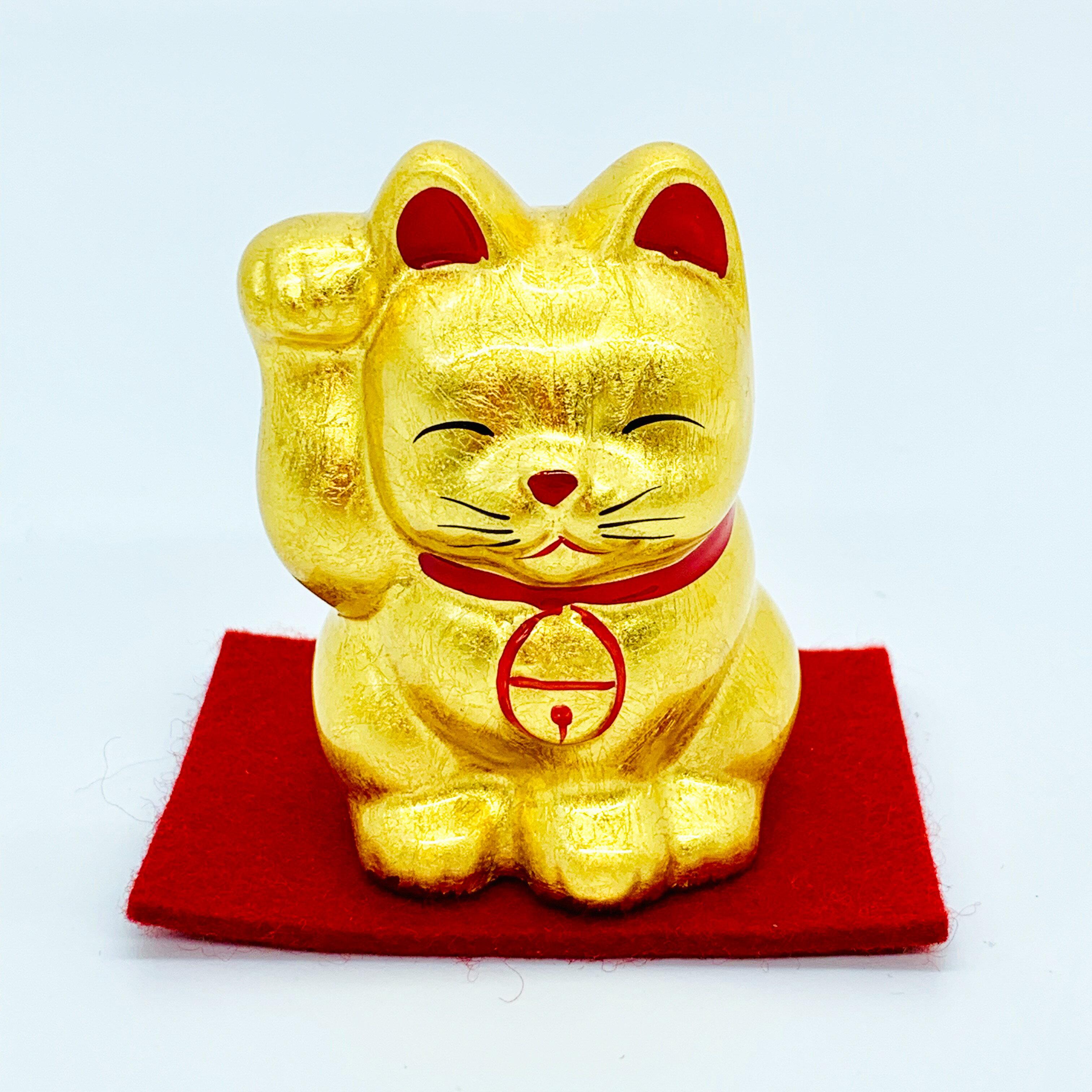 日本 金澤 金箔招財貓  2 號 日本百年老店直送 職人手作貼製 0