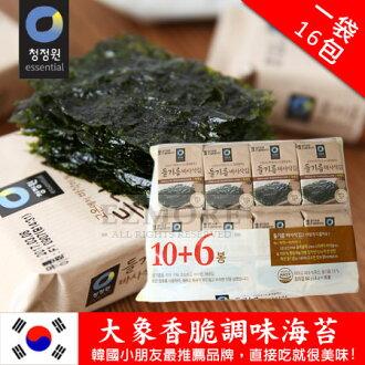 韓國 大象香脆調味海苔 (一袋/16包) 64g 海苔 隨身包 香脆海苔【N101589】