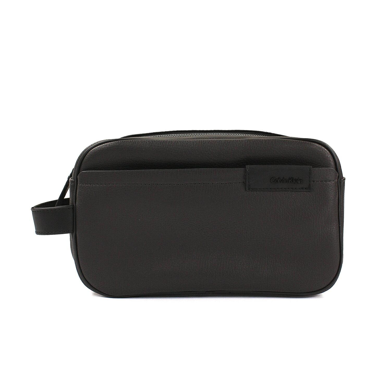 美國百分百【全新真品】Calvin Klein 男 手拿包 CK 皮質 業務包 手抓包 收納包 咖啡色 配件 F284