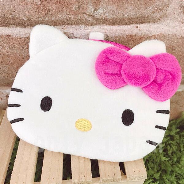 【真愛日本】18051000008絨毛造型票卡零錢包-KT桃結kitty凱蒂貓票卡包收納包零錢包