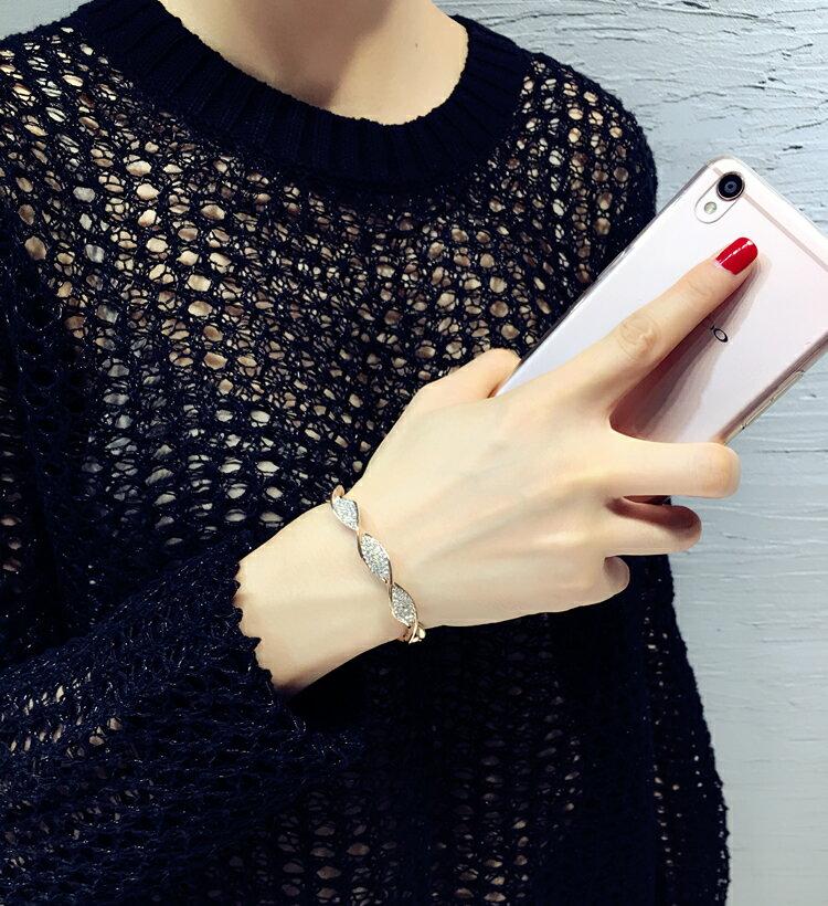 手鍊 - 韓版螺旋造型水鑽手鐲【21548】 藍色巴黎 《2色》現貨+預購  【防過敏】 5