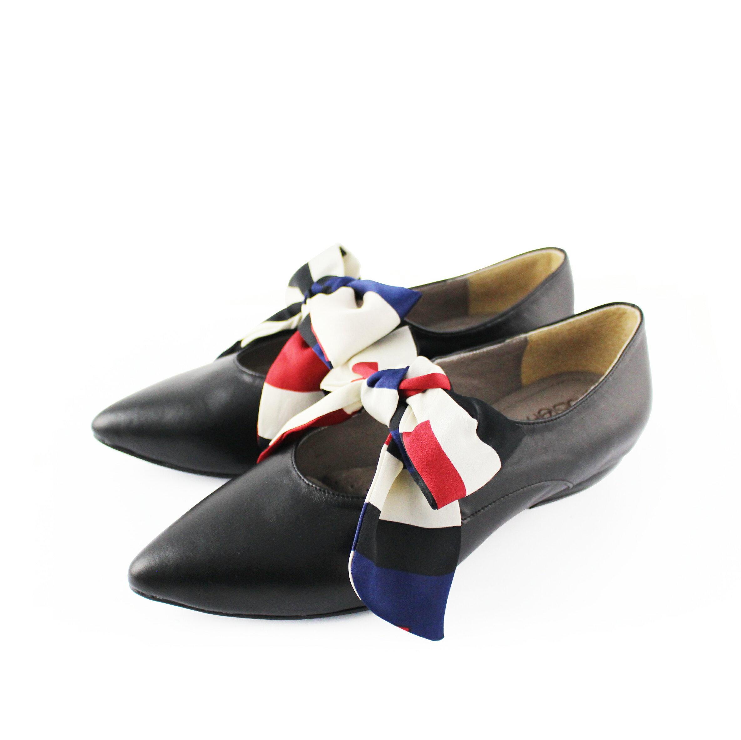 【F2-19104L】優雅緞布蝴蝶結低跟鞋_Shoes Party 4
