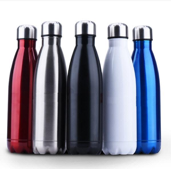 潮牌風格304不銹鋼內膽保溫瓶 中號500ml 金屬色 可樂瓶 保溫杯 保齡球造型杯 運動水壺