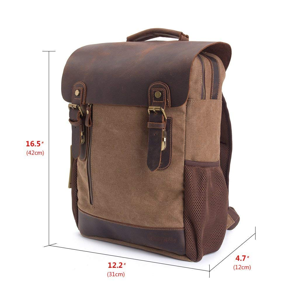 abbd651d36df Backpack Vintage Canvas Leather Men Bag Travel Rucksack School Laptop  Hiking Satchel Shoulder Women Genuine Military Casual Book Messenger