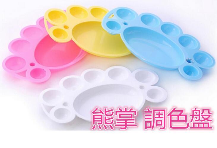 美甲【大- 熊掌 調色盤】顏料 調色盤 彩繪甲 彩色手繪 模型屋上色 顏料盤 調色碟 梅花G7-4