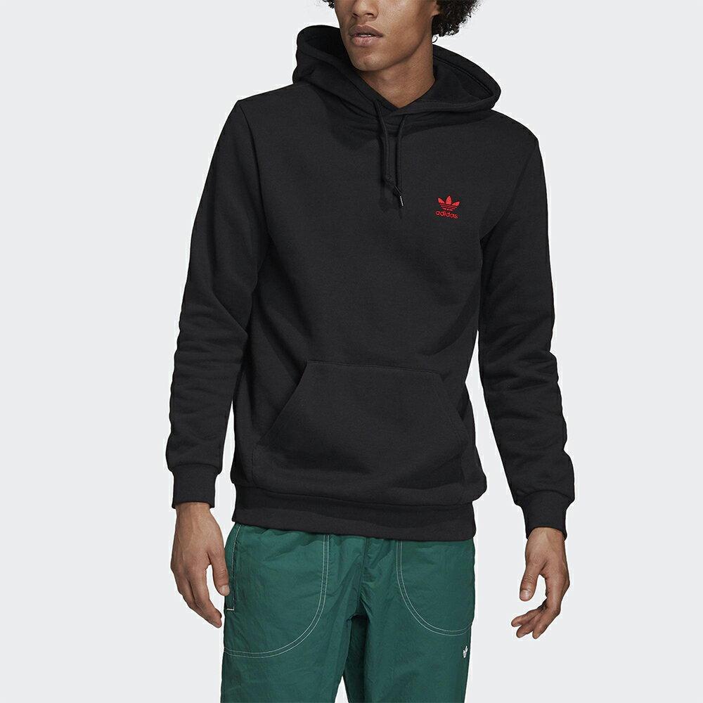 Adidas Originals ESSENTIALS 男裝 長袖 連帽 帽T 袋鼠口袋 刺繡 純棉 黑 【運動世界】GD2570