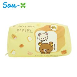 黃色款【日本進口】San-X 拉拉熊 皮革 化妝包 收納包 筆袋 鉛筆盒 防潑水 懶懶熊 Rilakkuma - 440336