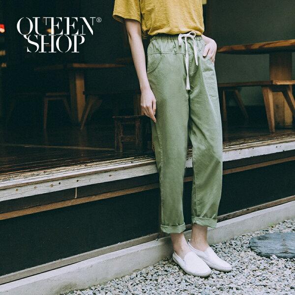 QueenShop【04080108】綁帶設計水洗休閒長褲兩色售SM*預購*