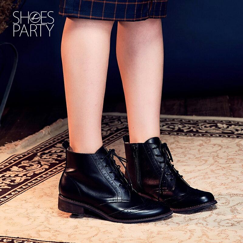 【B2-16819L】真皮綁帶牛津短筒靴_Shoes Party 5