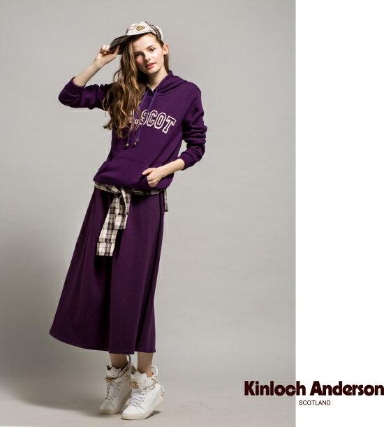 【金安德森】鬆緊腰圍格紋綁帶長裙 (紫 / 寶藍)