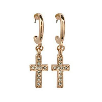 玫瑰金耳環925純銀鑲鑽耳飾~ 潮流十字架生日情人節 女飾品73gs57~ ~~米蘭 ~