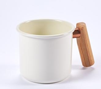 ├登山樂┤臺灣 Truvii 木頭琺瑯杯(把手與銅環樣式隨機出貨) 250ml 月光白# 4716171921285