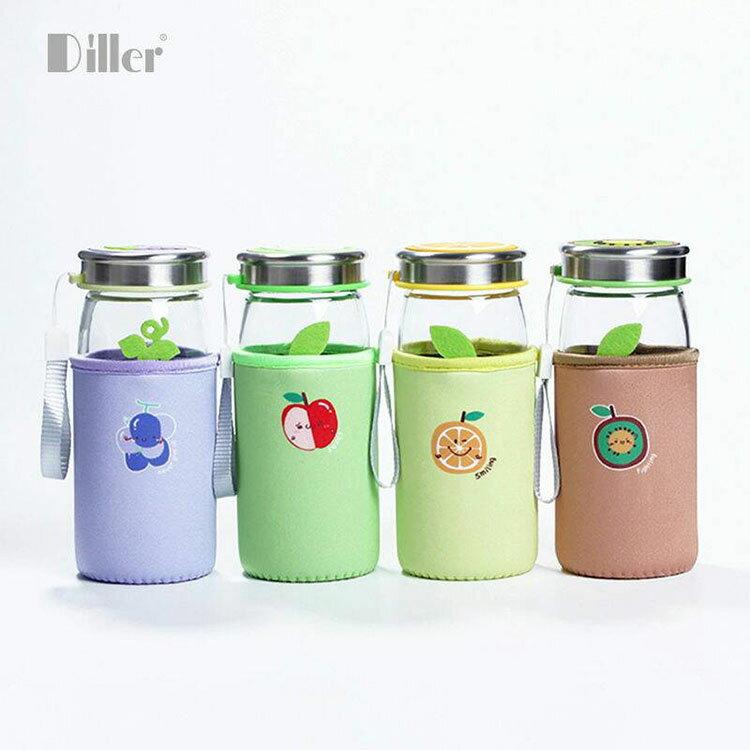 水果系列玻璃水瓶 420ml 兩支一組(顏色隨機)