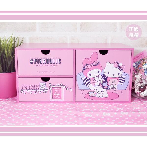 粉紅橫式三抽盒 置物櫃 小物收納 文具收納 製 三麗鷗 蕾寶 生日   情人節 聖誕 聖誕節 化妝盒