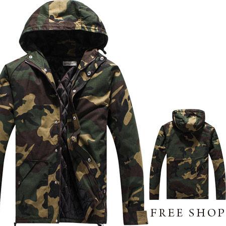 Free Shop 【QMDA3051】日韓系防寒防風保暖迷彩圖騰螺紋連帽外套大衣軍裝外套迷彩外套