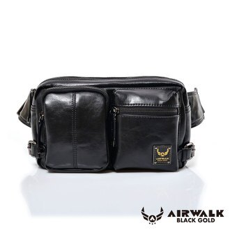 AIRWALK黑金系列-雅緻爵士雙口袋輕巧側肩包-黑(小)