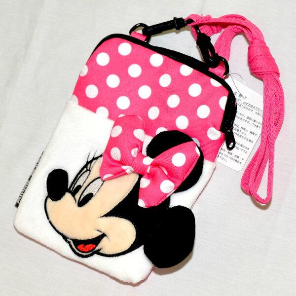 米妮Minnie立體可愛手機側背包,手機包,錢包,證件包日本帶回正版品迪士尼