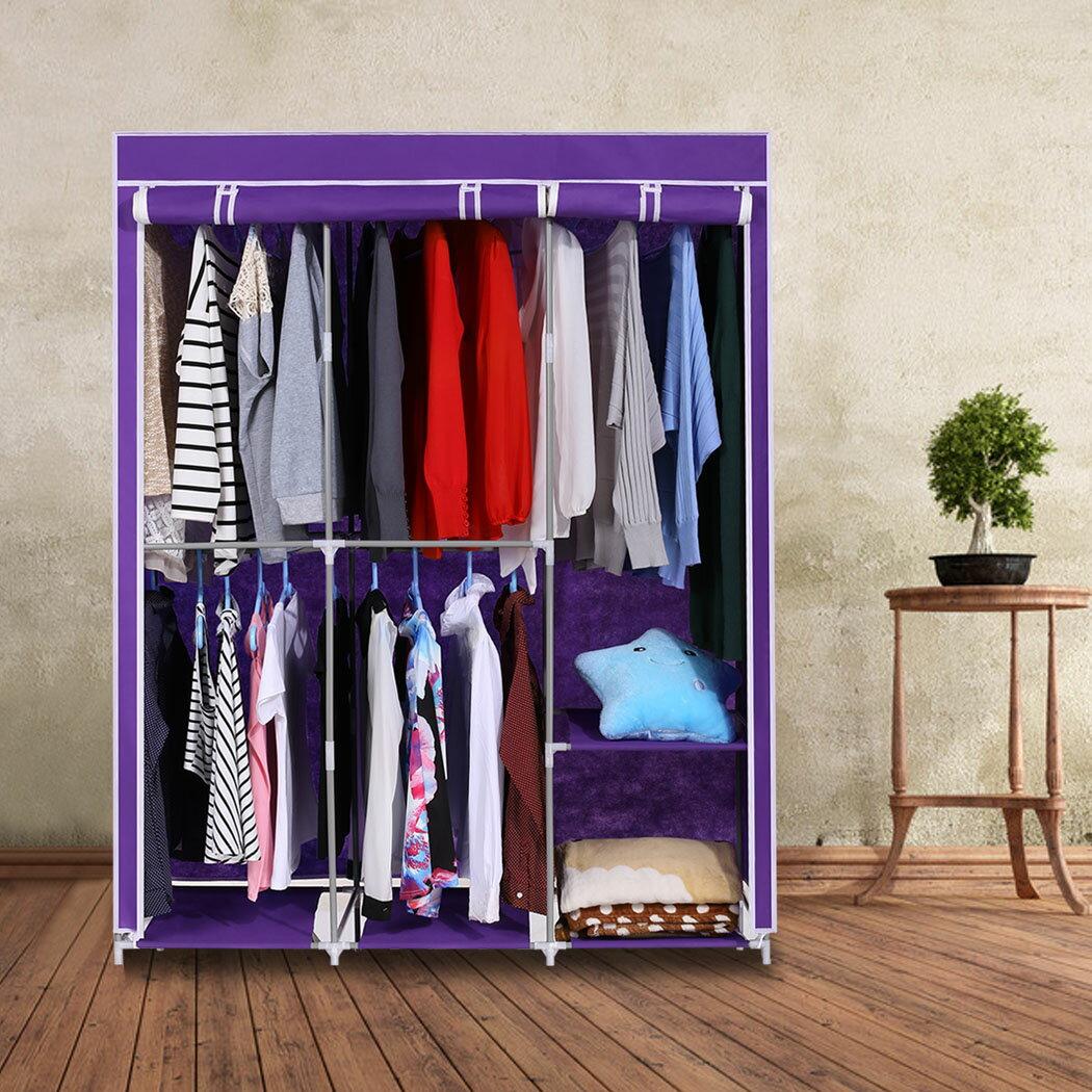 Home DIY Portable Closet Wardrobe Clothes Rack With Hanger 0