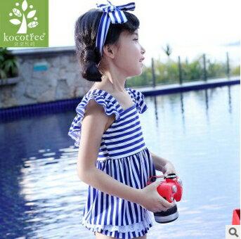 Kocotree◆可愛女孩蝴蝶結髮帶海軍風條紋分體裙式泳褲泳裝~藍色 ~  好康折扣