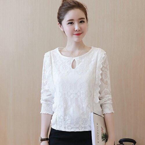 韓版圓領蕾絲衫打底衫(白色M~2XL)*ORead* - 限時優惠好康折扣