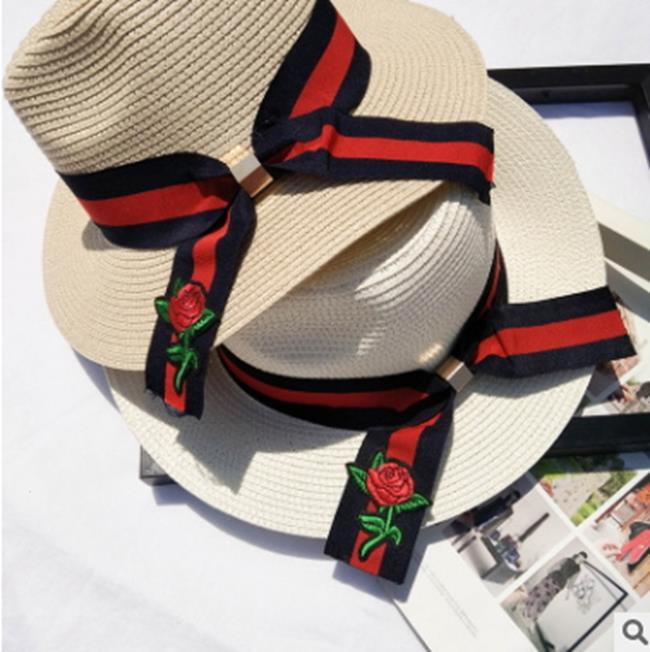 50%OFF SHOP百搭玫瑰花防曬遮陽小禮帽旅遊度假沙灘太陽帽子夏季女士系帶草帽【E025918SWH】