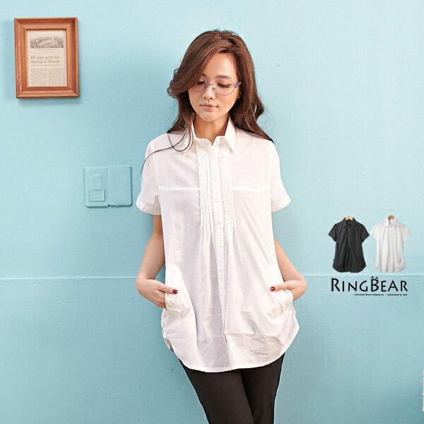 襯衫~~ 百搭款胸前壓摺飾口袋素面長版短袖襯衫^(白.黑M~L^)~H160眼圈熊中大 ~