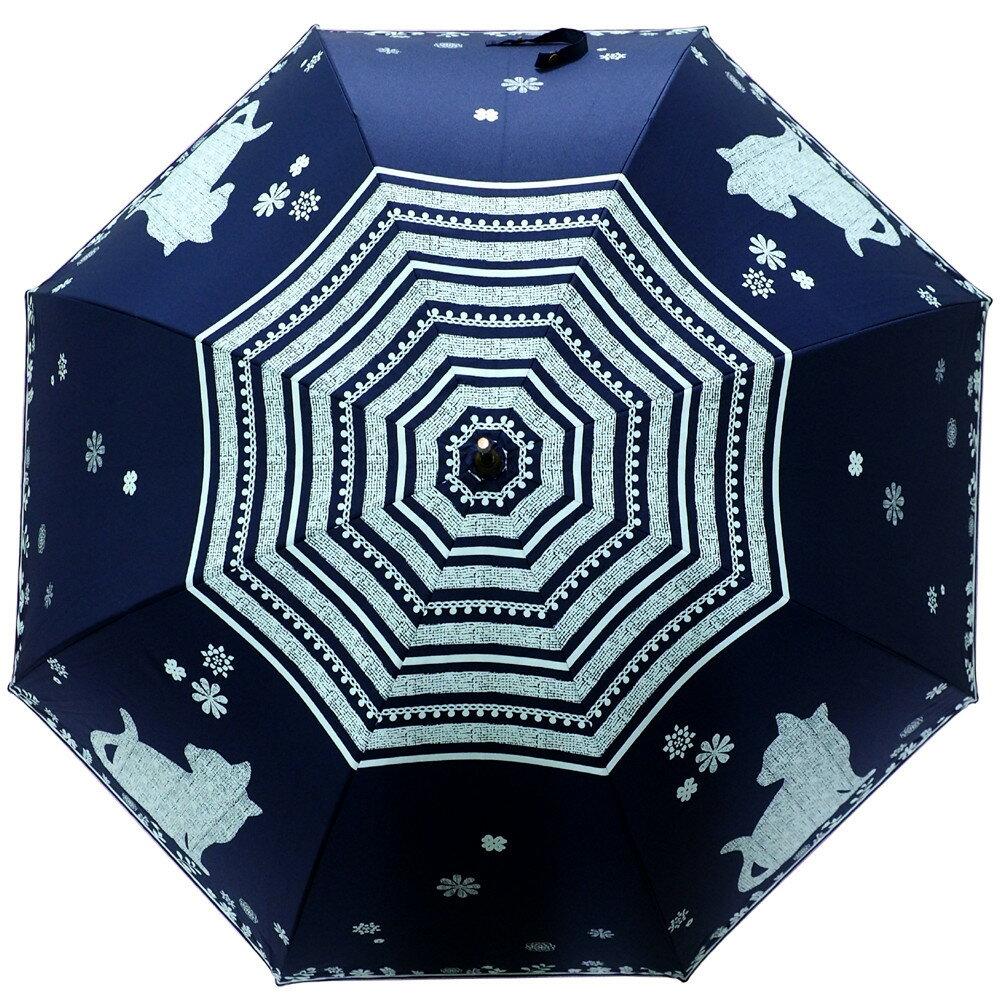 日本進口  貓咪與花晴雨兩用直傘(藍) 2