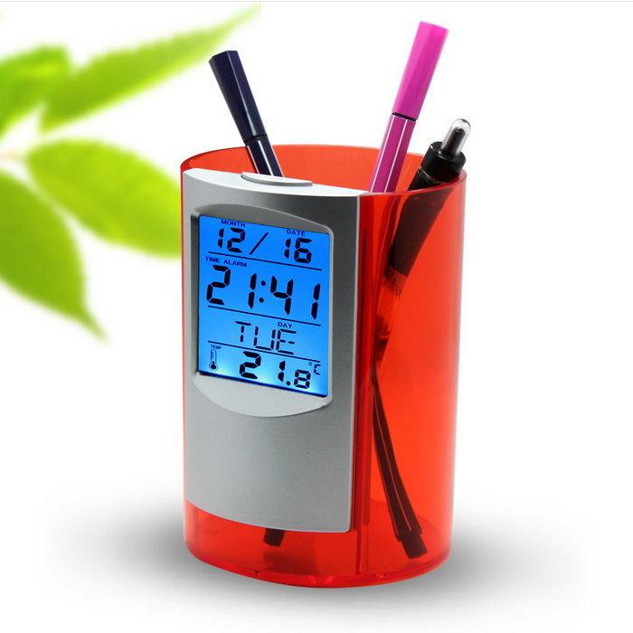 筆筒數字鐘-圓形 背光電子萬年曆時鐘 液晶螢幕電子鐘 鐘 溫度計 計時器【DG499】◎123便利屋◎