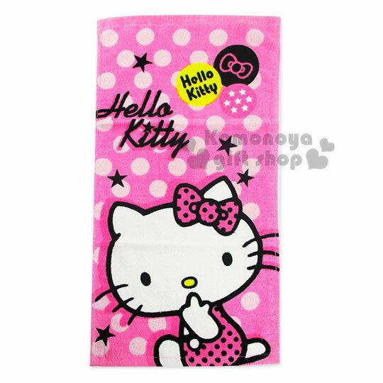 〔小禮堂〕Hello Kitty 大浴巾《桃紅.粉點.側坐咬手指》100%棉