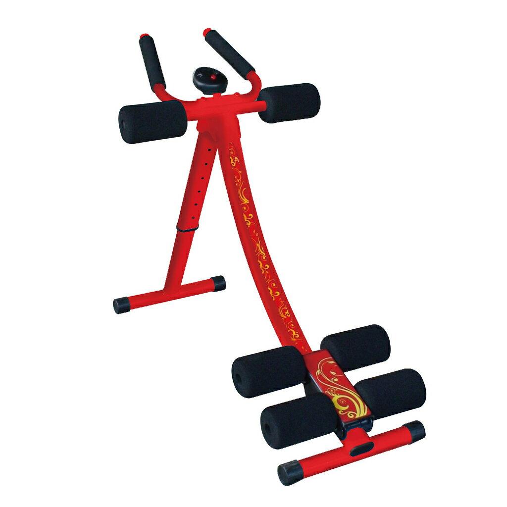 拉麗神 天天拉五分鐘健腹器/健身機(贈伸展拉力繩1) 提臀健腹機 健身器 腰腹運動健美機 美背機 台灣製 滑軌加寬豪華紅彩繪金紋款