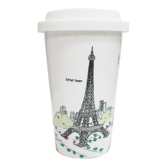 Bella House 雙層隔熱陶瓷杯330ml 巴黎鐵塔 (1入) 馬克杯 隔熱杯 骨瓷杯 隨手杯 雙層杯 咖啡杯 矽膠隔熱杯套 食品級矽膠