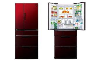 ★牌面品 限台北-台中地區★『SHARP』 ☆ 夏寶 601L 6門玻璃鏡面對開冰箱 SJ-GF60X-R (紅色) **免費基本安裝+舊機回收**