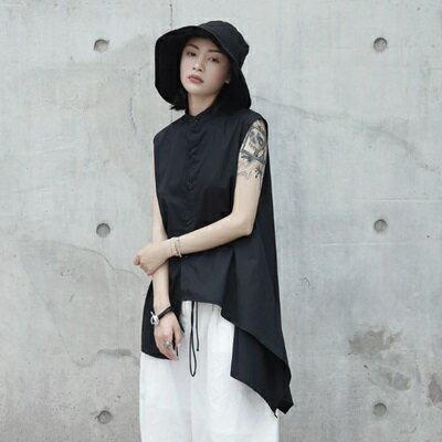 無袖襯衫中長款-時尚有型不規則下擺女上衣73sl1【獨家進口】【米蘭精品】