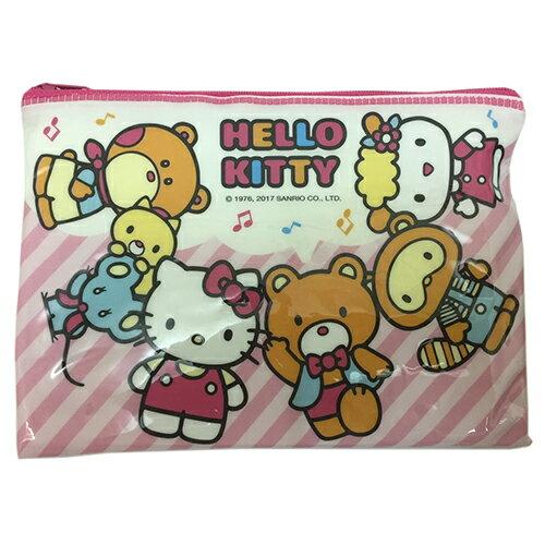 【真愛日本】17031300005 亮面拉鍊資料袋-KT朋友 三麗鷗 Hello Kitty 凱蒂貓 收納袋 萬用袋