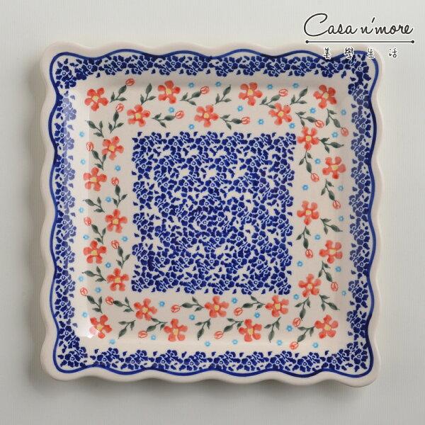 波蘭陶藍印紅花系列方形餐盤陶瓷盤菜盤水果盤沙拉盤24cm波蘭手工製