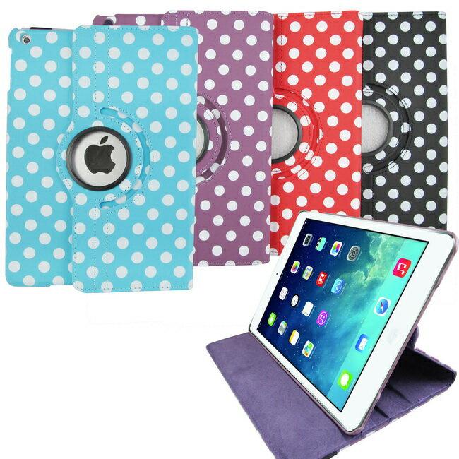 <br/><br/>  L64波點旋轉款iPad Air(iPad5)平板皮套(加贈螢幕保護貼)<br/><br/>