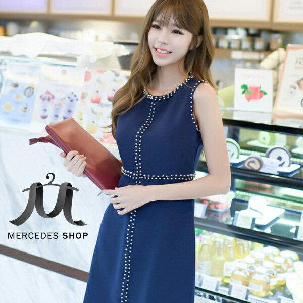 《全店8折+399免運》 個性鉚釘鑲邊顯瘦無袖洋裝 (S-XL) - 梅西蒂絲(現貨+預購)