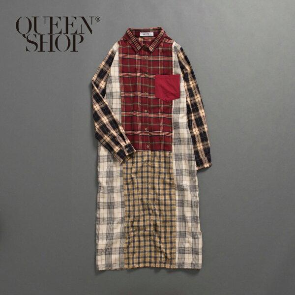 QueenShop【01083747】女裝親子系列拼色格紋長版洋裝SM*預購*