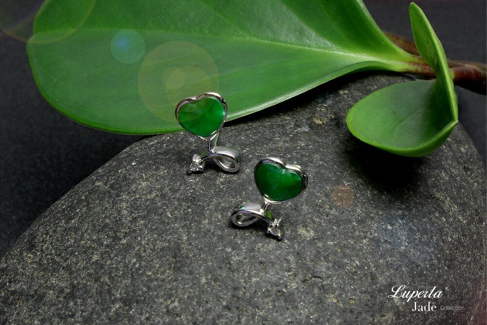 大東山珠寶 珍愛之星 天然緬甸老坑玻璃種A貨翡翠 頂級真鑽18K白金耳環 1